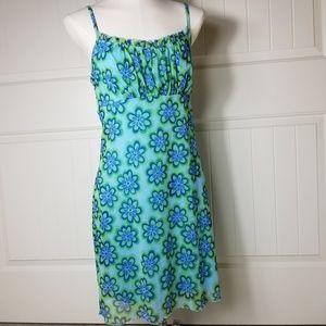 Sheath Overlay Funky Floral Slip Dress  11/13 Lg